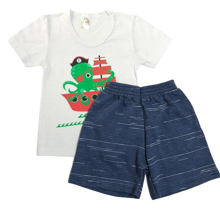 Conjunto Infantil Camiseta Malha e Bermudinha Polvo Pirata - ClubB