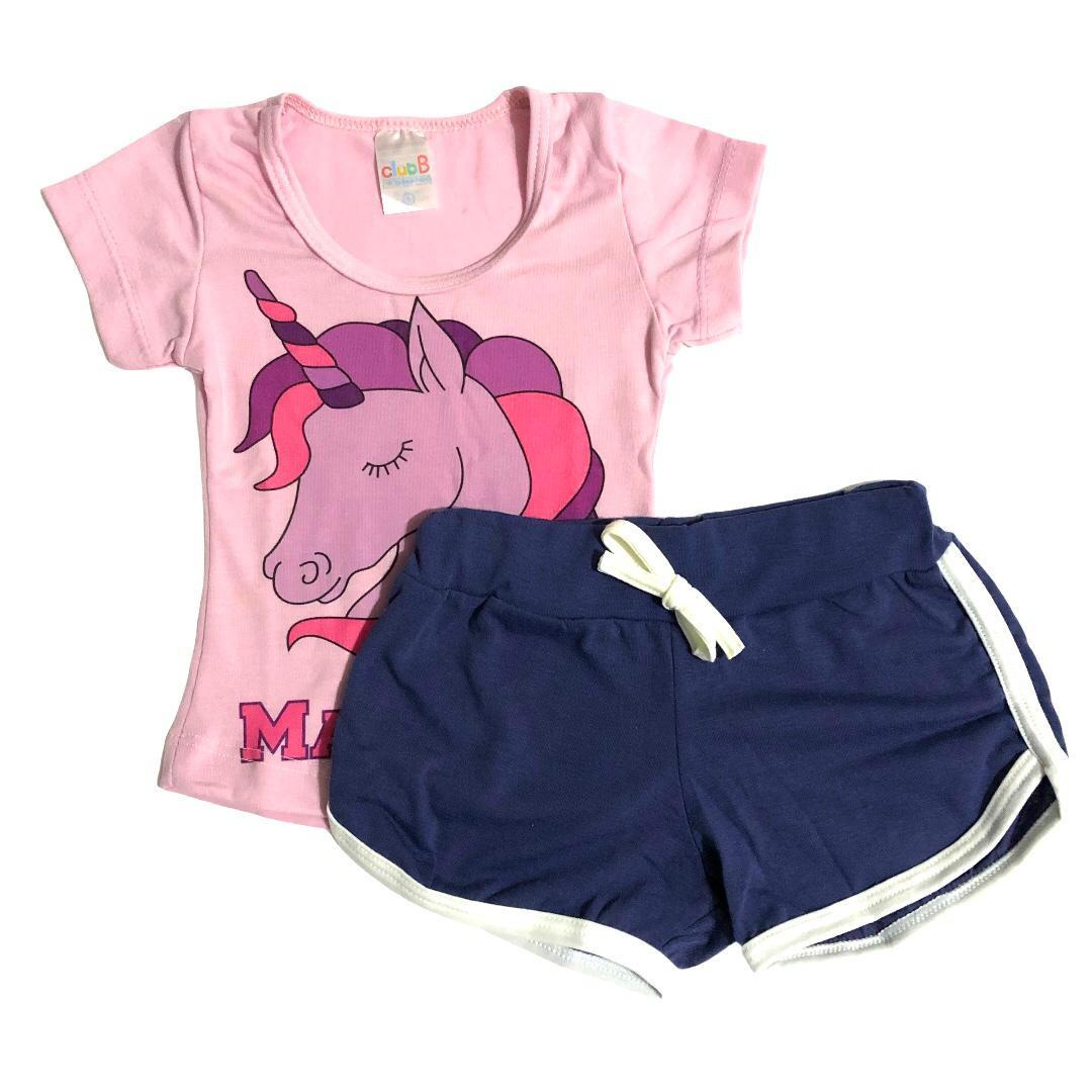 Conjunto infantil camiseta unicornio magico e shorts azul - ClubB