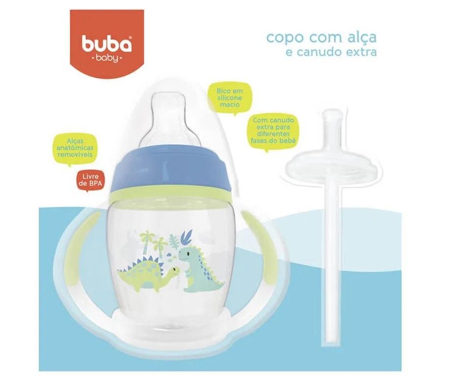 Copo com Alça Removível e Canudo Extra Dino - Buba Baby