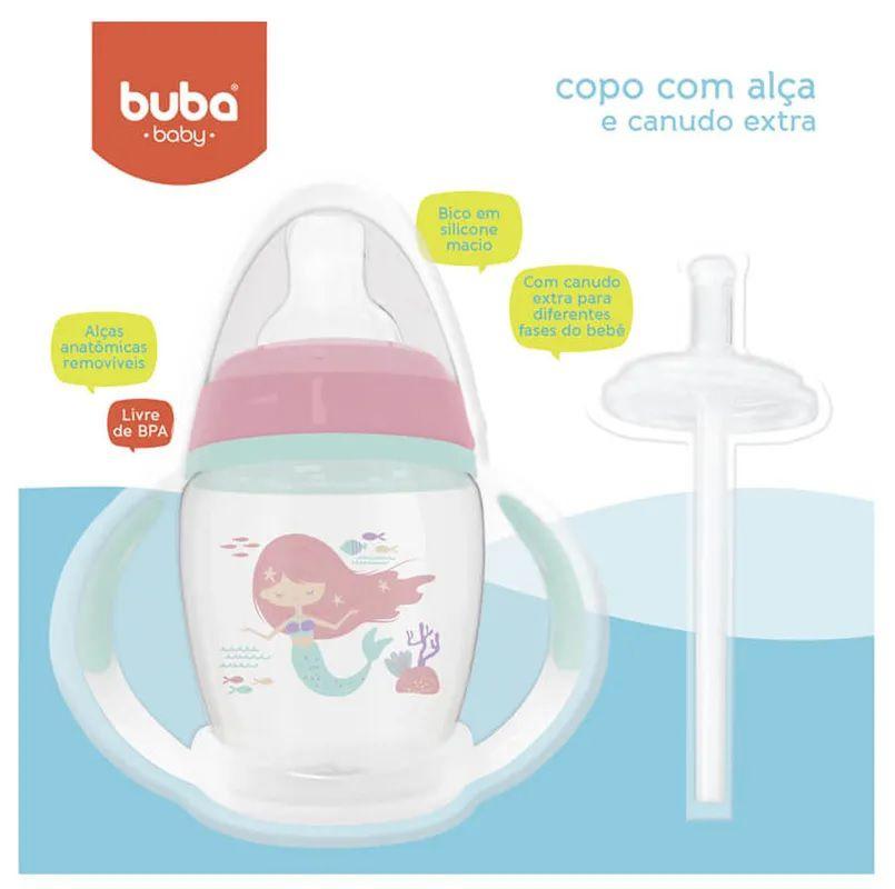 Copo com Alça Removível e Canudo Extra Sereia - Buba Baby