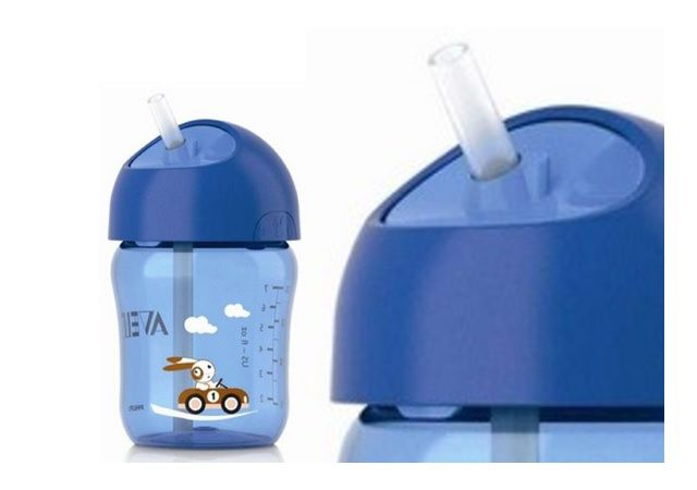 Copo com Canudo Azul Philips Avent - 260ml