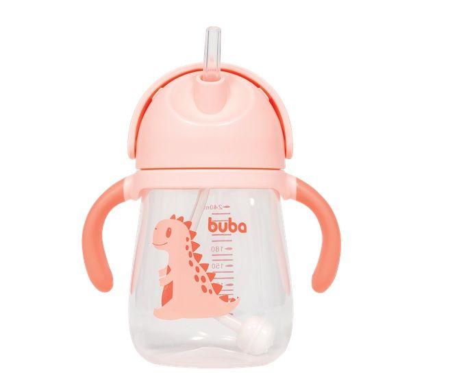 Copo Treinamento com Alça Dino Rosa - Buba Baby