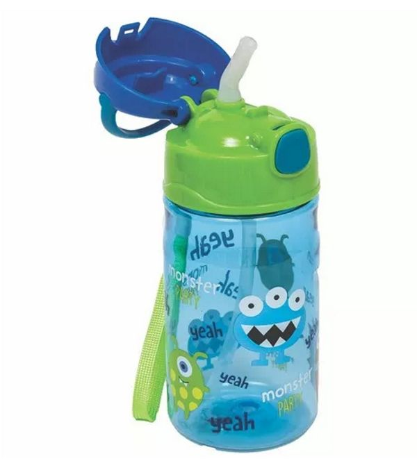 Garrafinha com Canudo Monster Star 400ml - Buba Baby