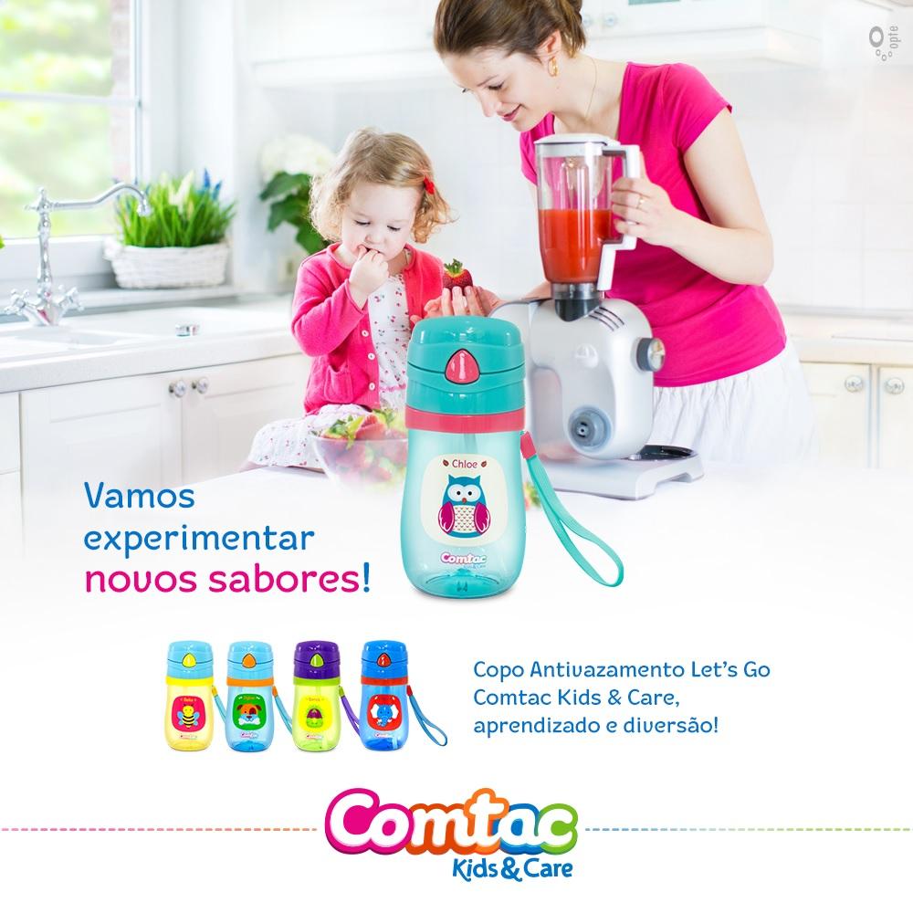 Garrafinha com Canudo Silicone hipopotamo - Comtac Kids