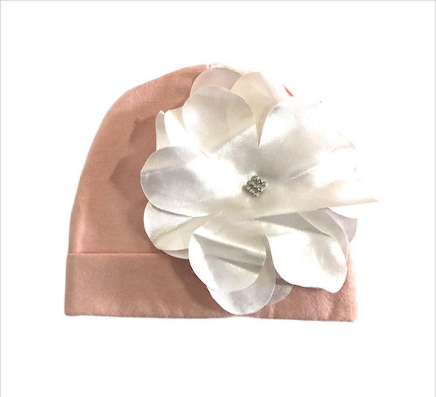 Gorro Com Aplique Branco Rosa - Zip Toys