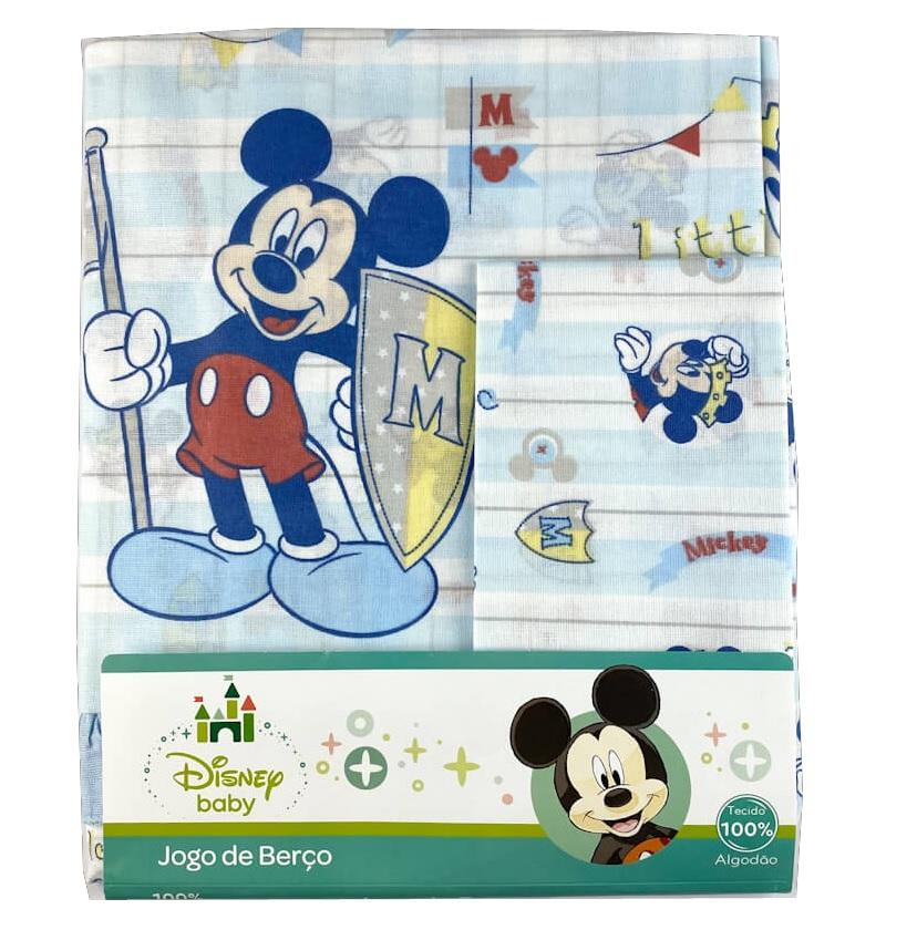 Jogo Lençol Berço 3 peças Disney Baby Mickey - Minasrey