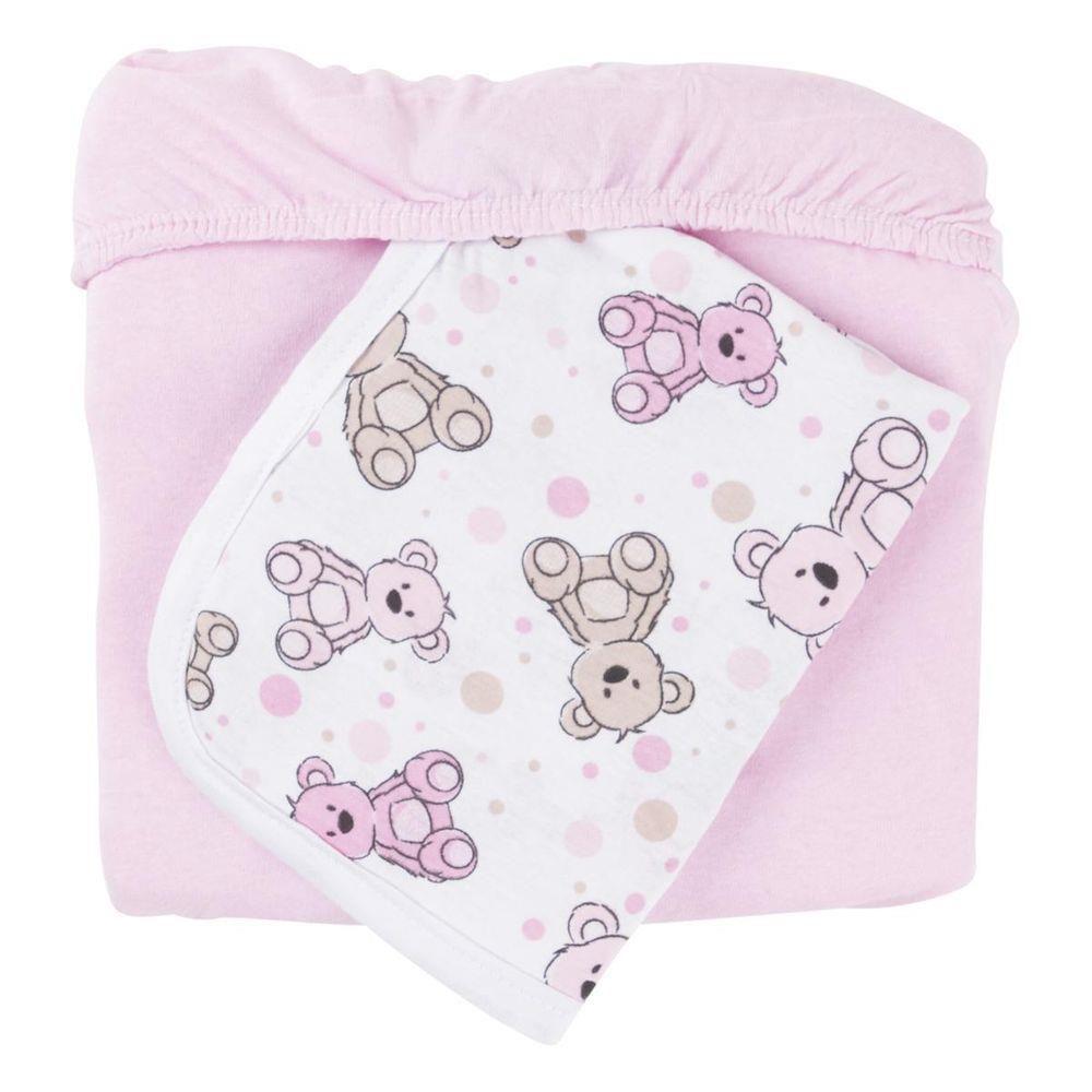 Jogo lençol malha 2 pçs ursinho rosa - Sulbrasil