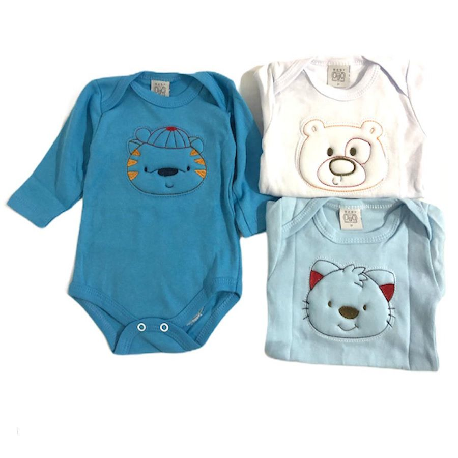 Kit 3 Bodies Manga Longa Animais Azul Bordado - Baby Gijo