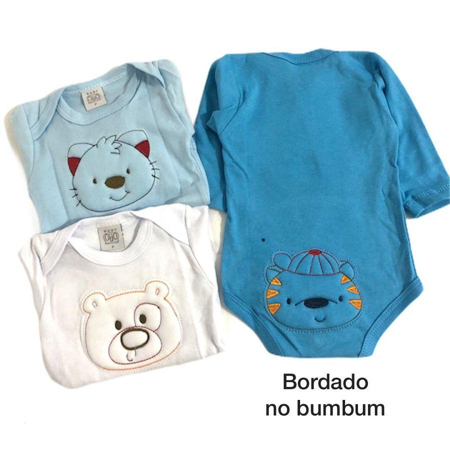 Kit 3 Bodies Manga Longa Animais Azul Bordado - Baby Gijo
