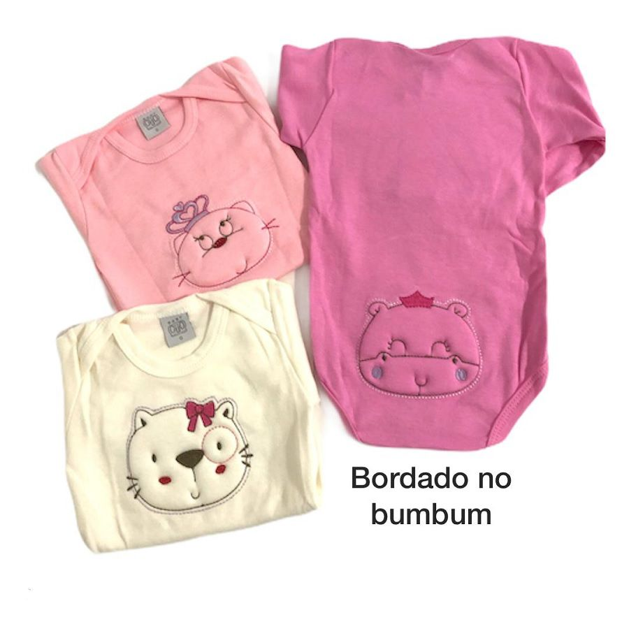 Kit 3 Bodies Manga Longa Animais Rosa Bordado - Baby Gijo