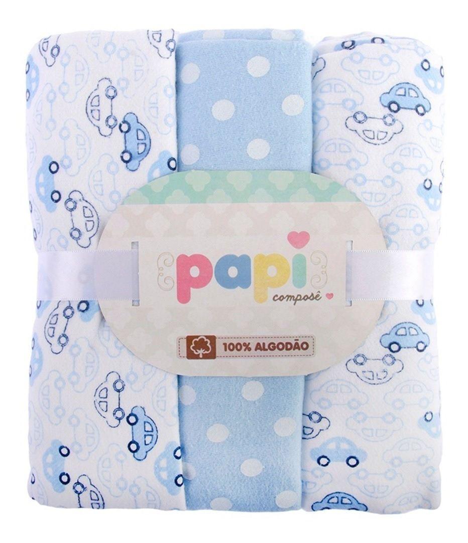 Kit 3 Cueiros Estampado Carrinhos - Papi Baby