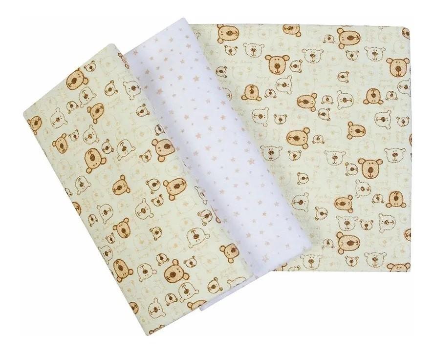 Kit 3 Cueiros Estampado Ursinhos Amarelo - Papi Baby