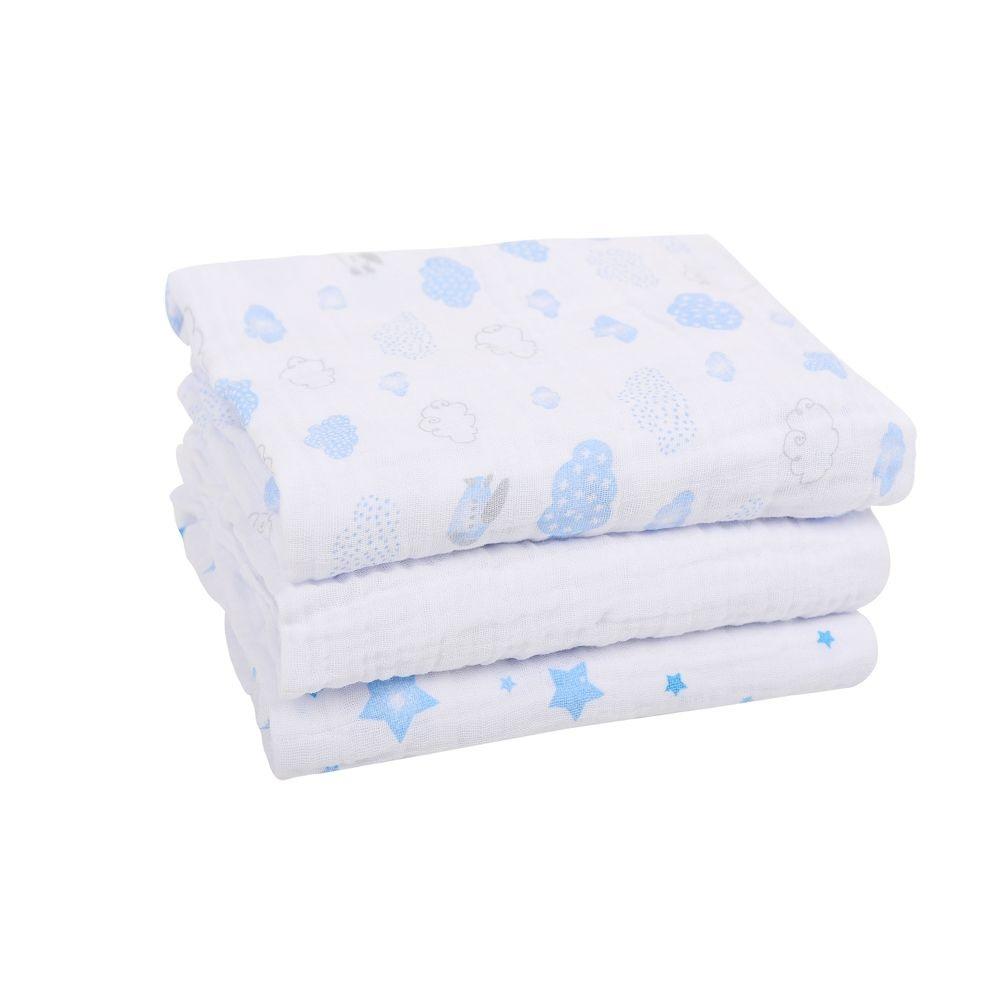 Kit 3 Cueiros Soft Estampado Azul - Papi Baby