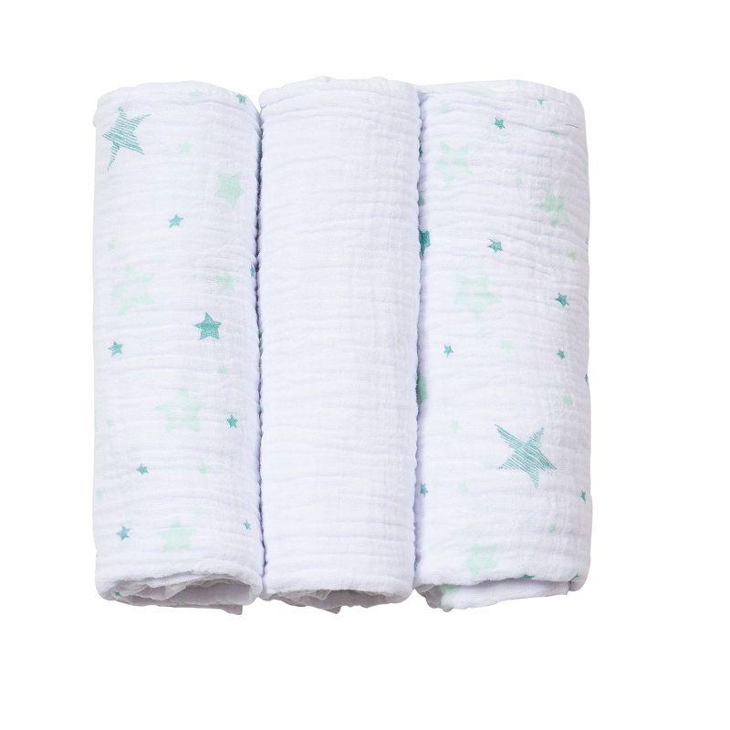 Kit 3 Cueiros Soft Estampado Celeste Verde - Papi Baby
