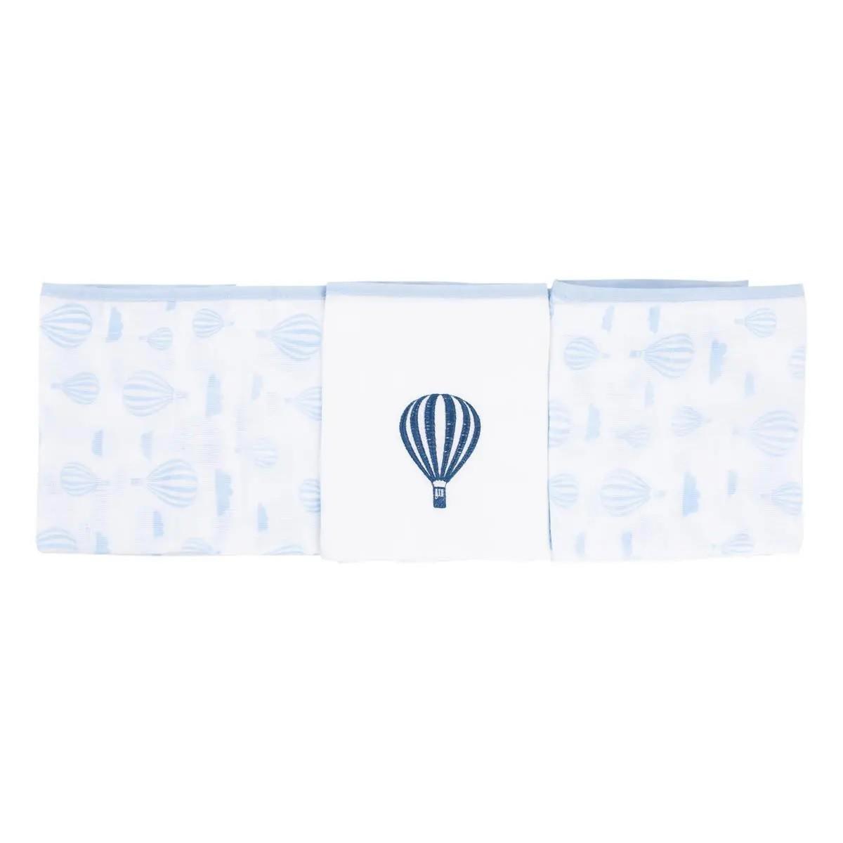 Kit 3 Fraldas Com Bainha Balão Azul - Baby Gijo