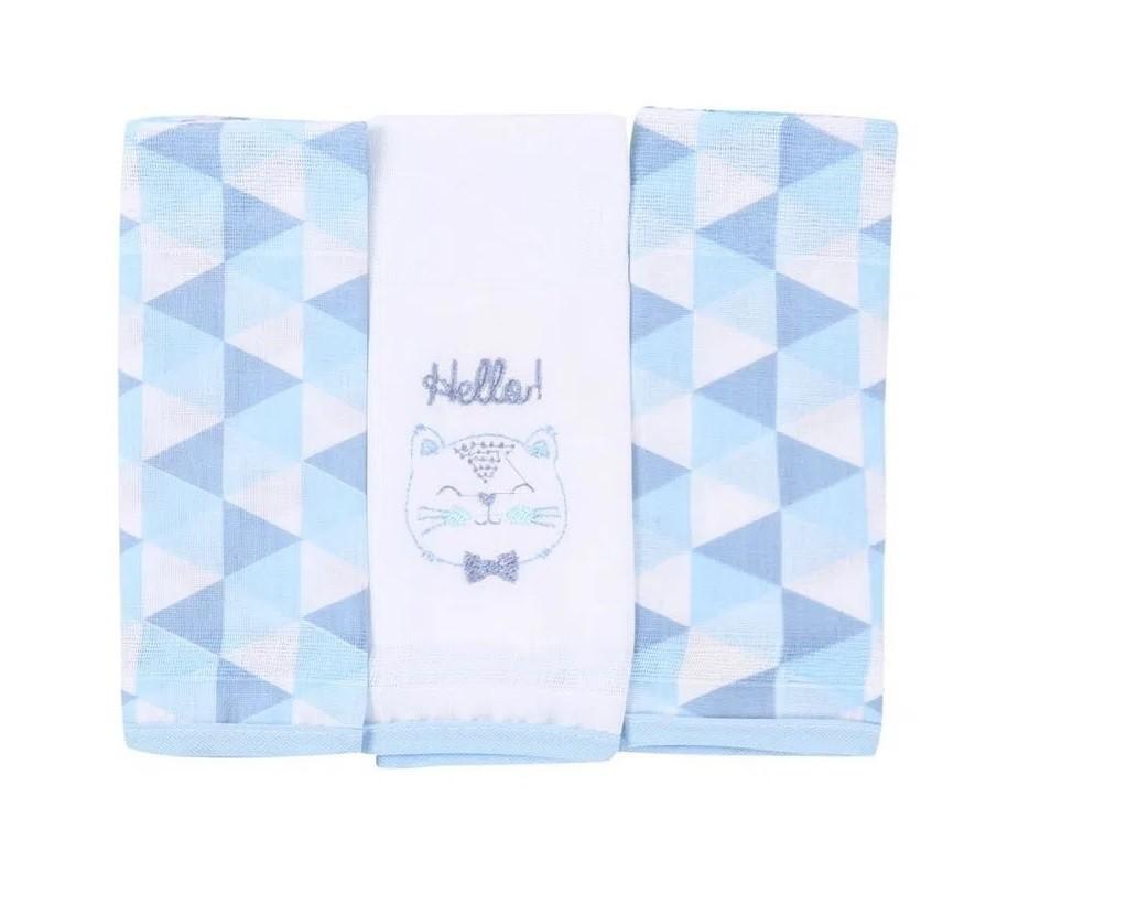 Kit 3 Fraldas Com Bainha Gatinho Azul - Baby Gijo