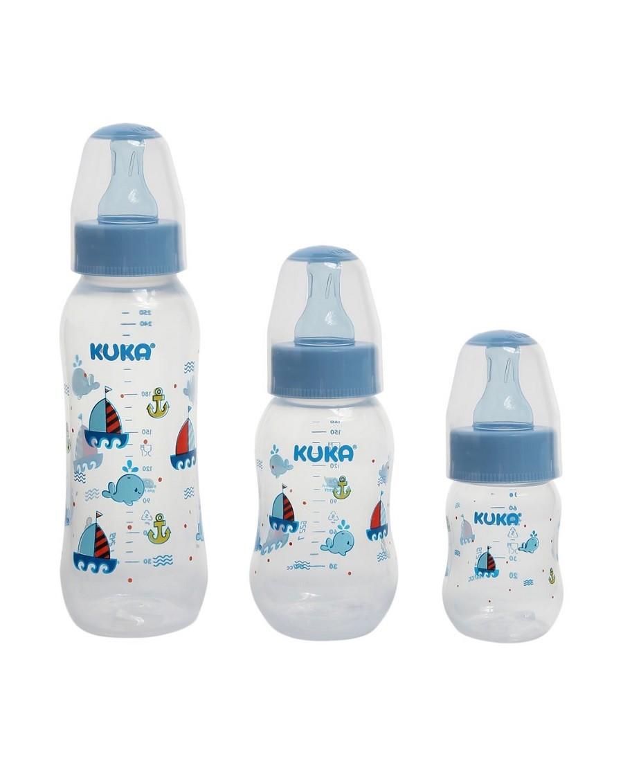 Kit 3 Mamadeiras Baleia Azul com Bicos Ortodônticos - Kuka