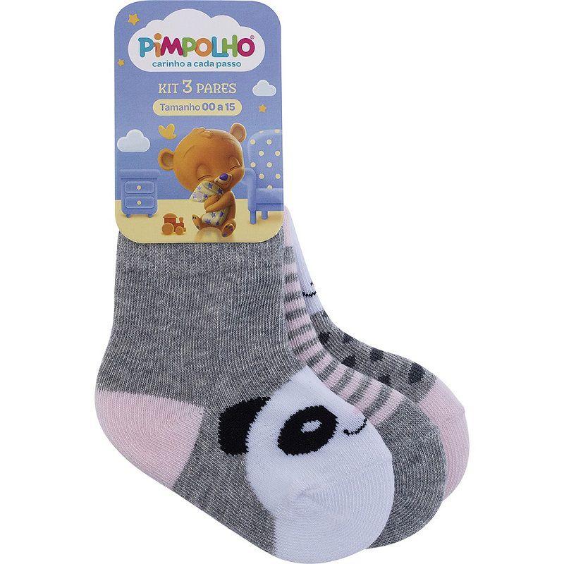 Kit 3 Pares de Meias Panda - Pimpolho (Tamanho 00 ao 15)