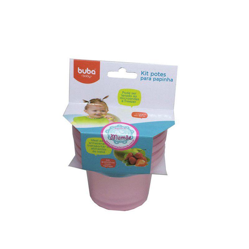 Kit 3 Potes com Tampa Rosa 150ml - Buba Baby