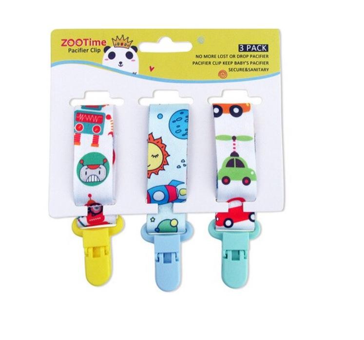 Kit 3 Prendedores de Chupeta Universal Baby - Espacial
