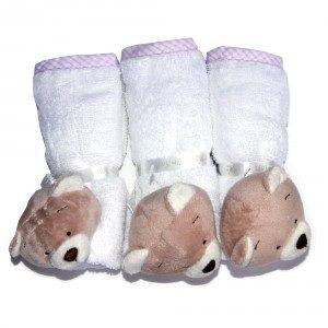 Kit 3 Toalhinhas de boca - Zip Toys  Urso Nino Rosa