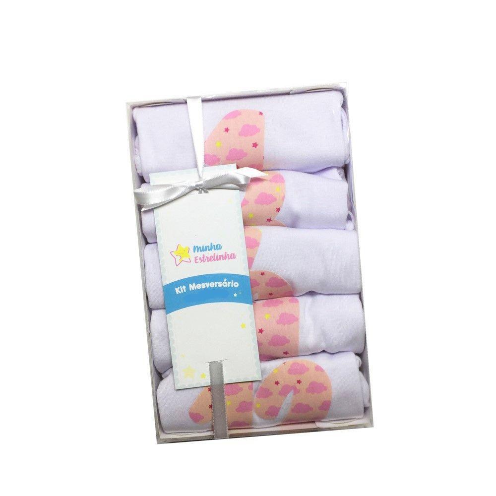 Kit 5 bodies mesversario Nuvenzinhas rosa - Minha Estrelinha