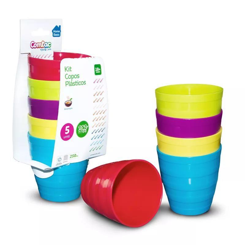 Kit 5 Copos Plástico Colorido - Comtac Kids
