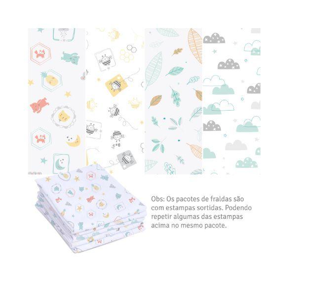 Kit 5 Fraldas Luxo com Bainha Neutro -  Papi Baby