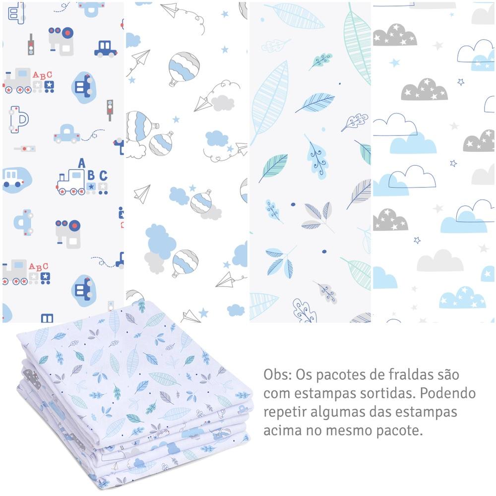 Kit 5 Fraldas Super Luxo com Bainha Menino Linha Mami -  Papi Baby