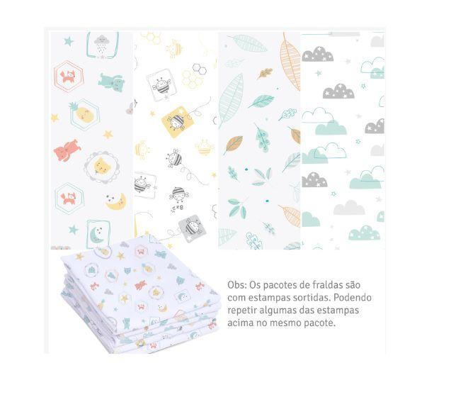 Kit 5 Fraldas Super Luxo com Bainha Neutro Linha Mami -  Papi Baby