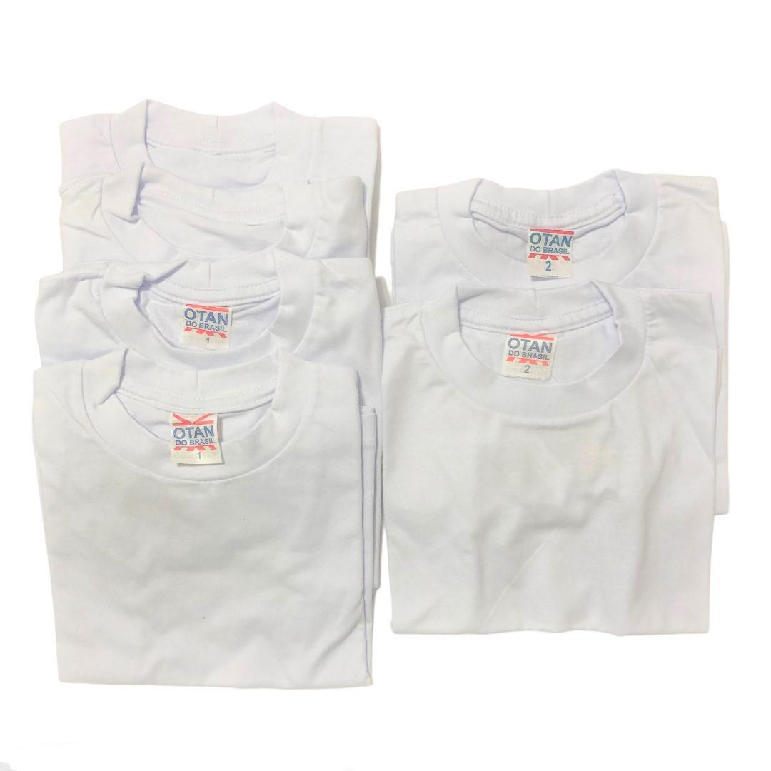 Kit 6 Camisetas Bebê Algodão Branca Para Personalização
