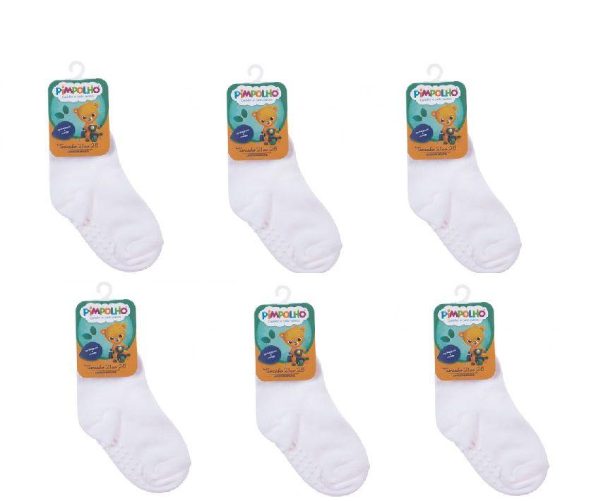 Kit 6 Pares de Meias Infantis Antiderrapante - Branco - Pimpolho (tamanho 21 a 25)