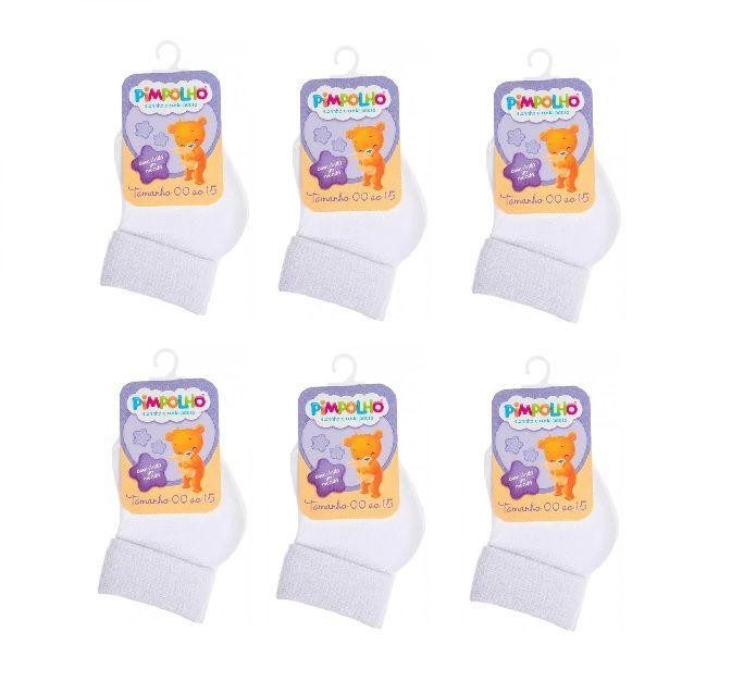 Kit 6 Pares de Meias Infantis - Branco - Pimpolho (tamanho 00 a 15)