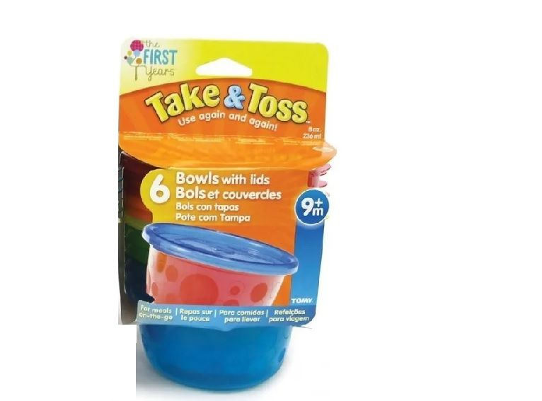 Kit 6 Potes para Papinha com Tampa 236ml Azul - First Years