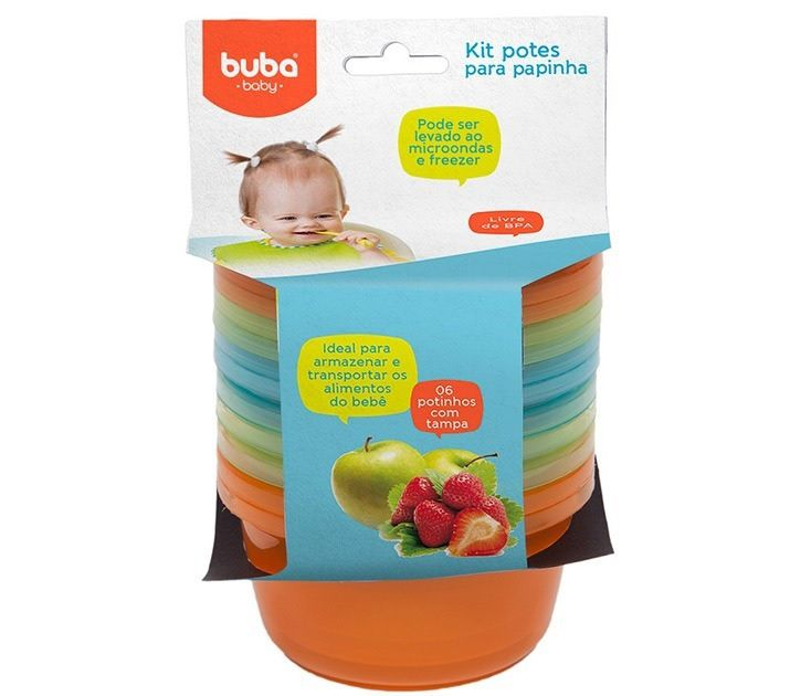 Kit 6 Potes para Papinha com Tampa azul 180ml - Buba Baby