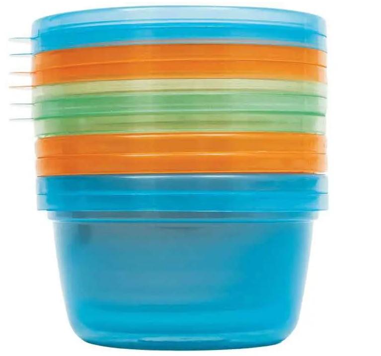 Kit 6 Potes para Papinha com Tampa azul 250ml - Buba Baby