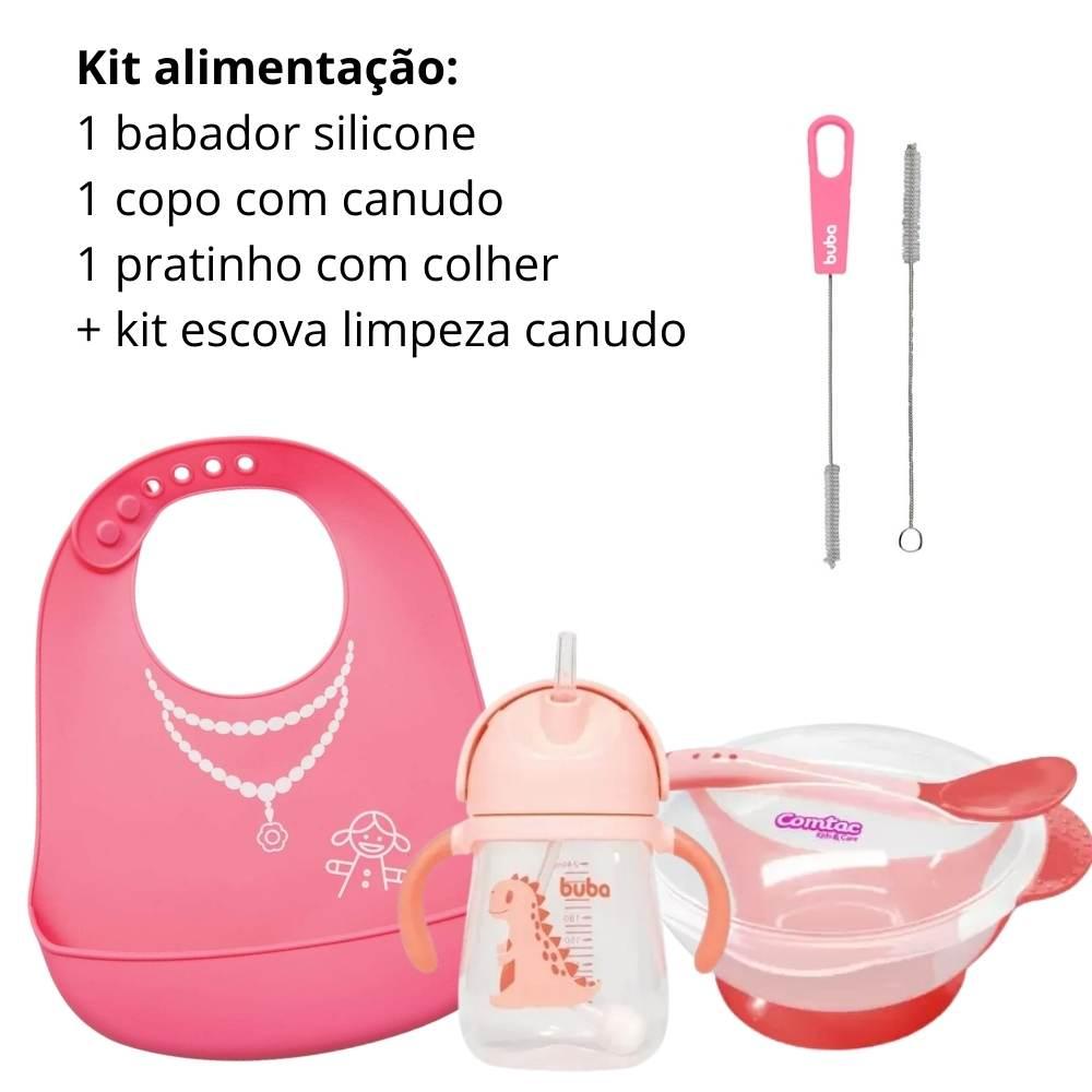 Kit Alimentação Bebê: 1 babador silicone , 1 copo com canudo,  1 pratinho com colher rosa