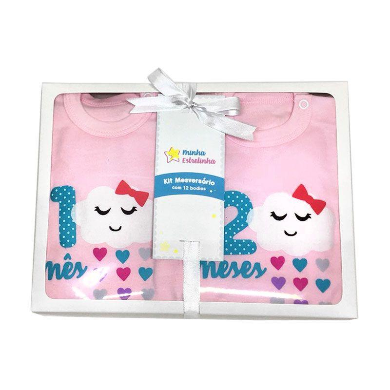 Kit Body Mesversário Chuva de Amor rosa  - Minha Estrelinha