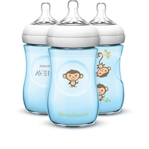 Kit c/3 Mamadeiras Philips Avent Petala Decorada - 260ml Azul
