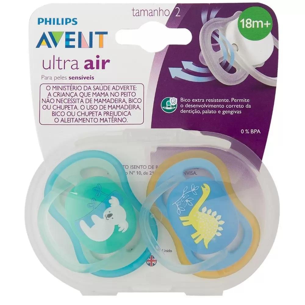 Kit Chupetas Ultra Air Dino Coala Philips Avent 6a18 meses