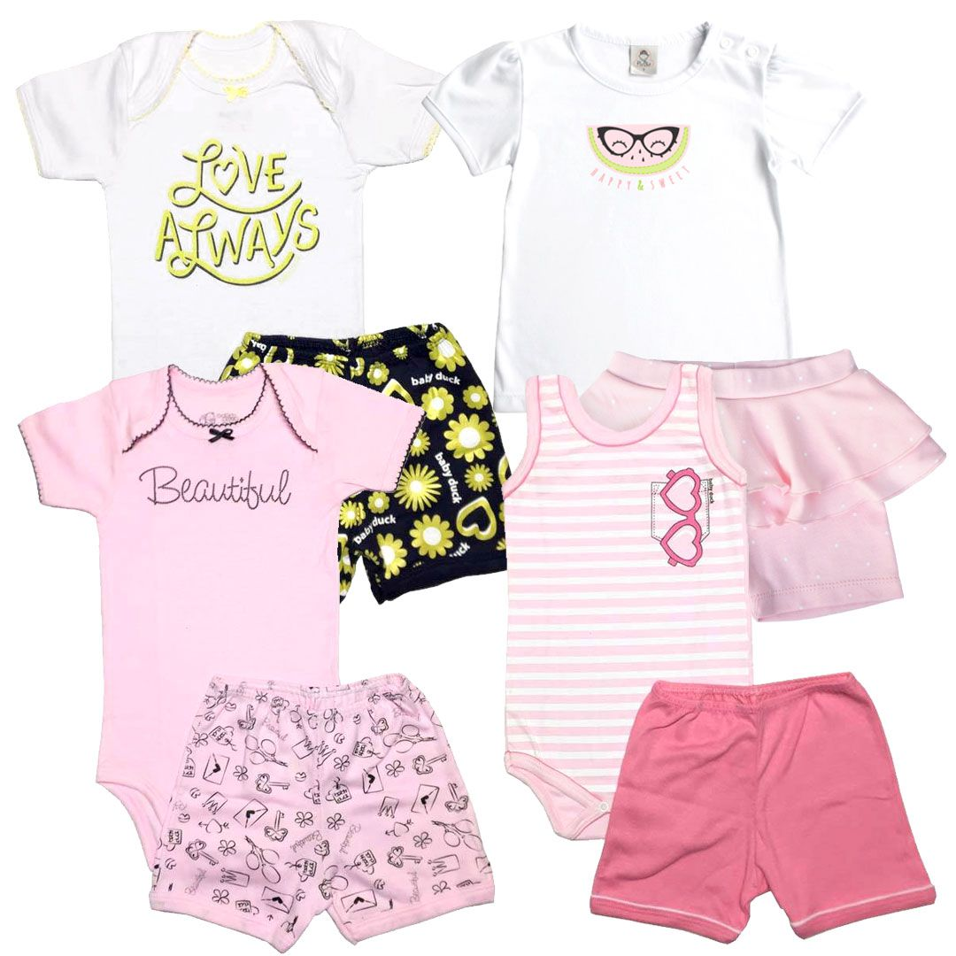 Kit Conjuntos Body e Shorts Menina - Tamanho 2 Anos -  kit nº3
