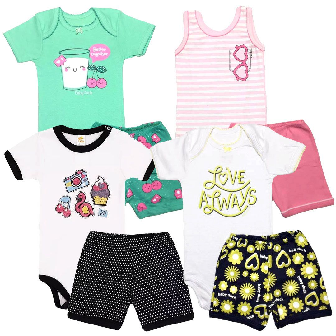 Kit Conjuntos Body e Shorts Menina - Tamanho 3 Anos -  kit nº2