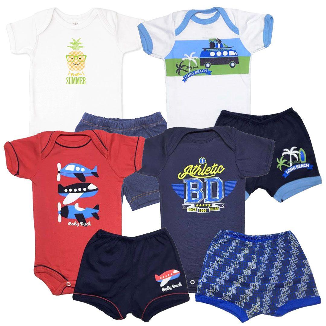Kit Conjuntos Body e Shorts Menino - Tamanho M -  kit nº8