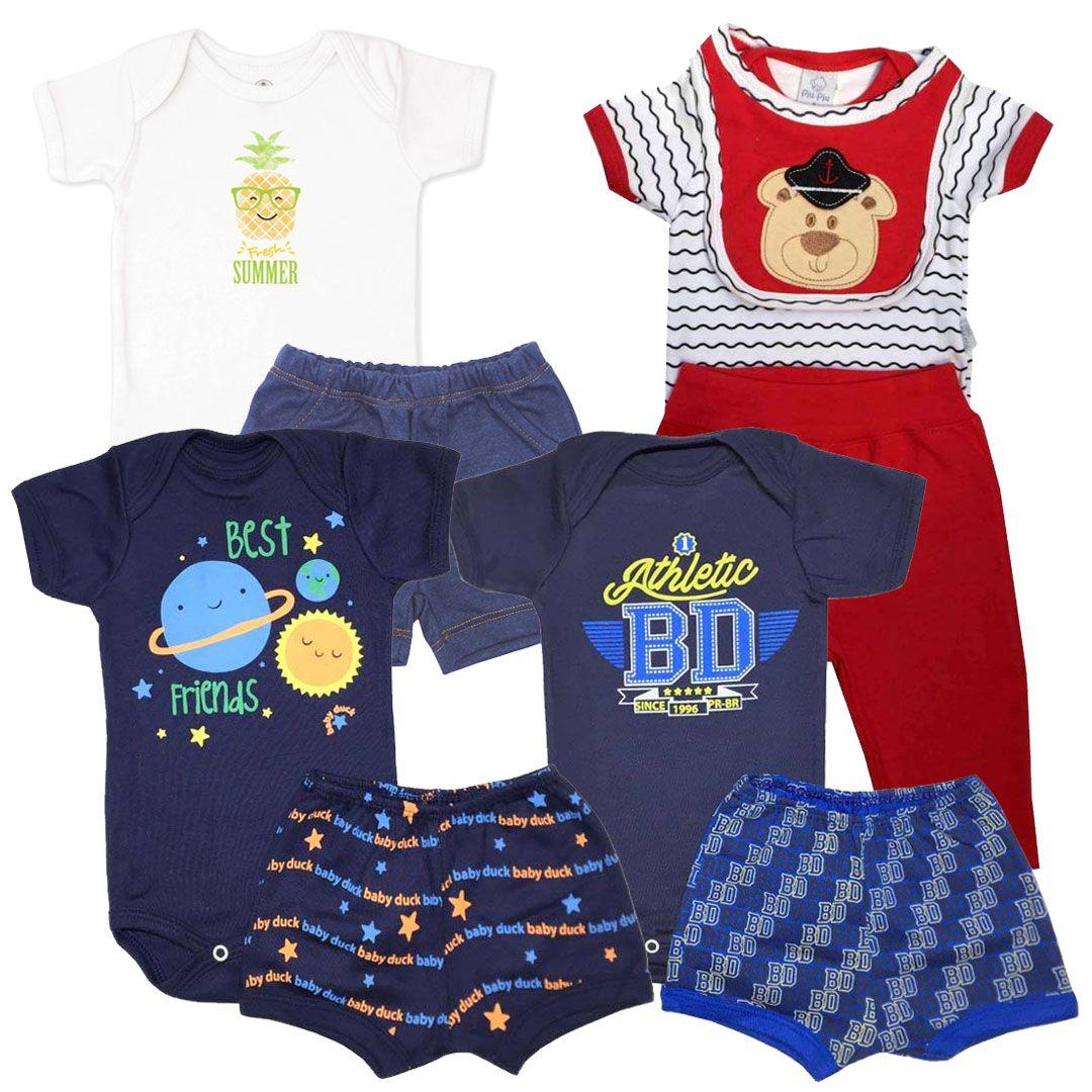 Kit Conjuntos Body e Shorts Menino - Tamanho P -  kit nº9