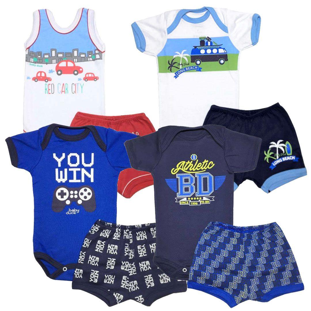 Kit Conjuntos Body e Shorts Menino - Tamanho RN -  kit nº10