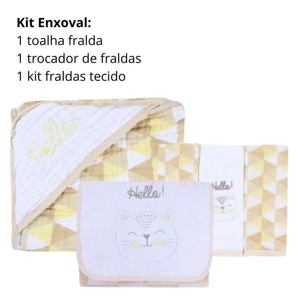 Kit Enxoval: 1 Toalha fralda, 1 kit fralda, 1 trocador portátil