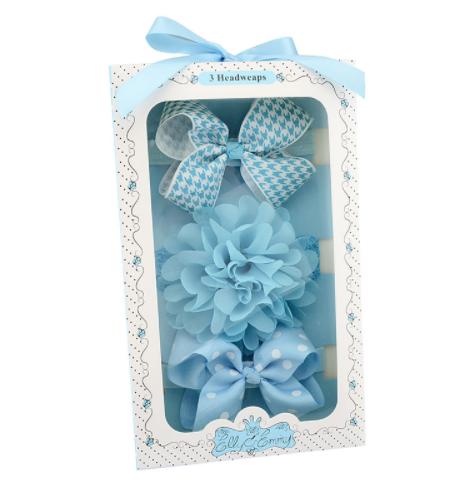 Kit faixas com laço de cabelo azul - Baby 3pçs