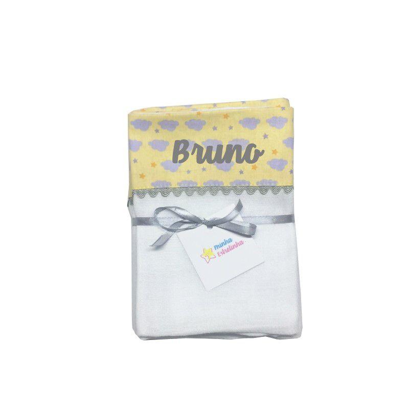 kit Fralda 3 pçs Personalizada Nuvemzinha amarelo - Minha Estrelinha