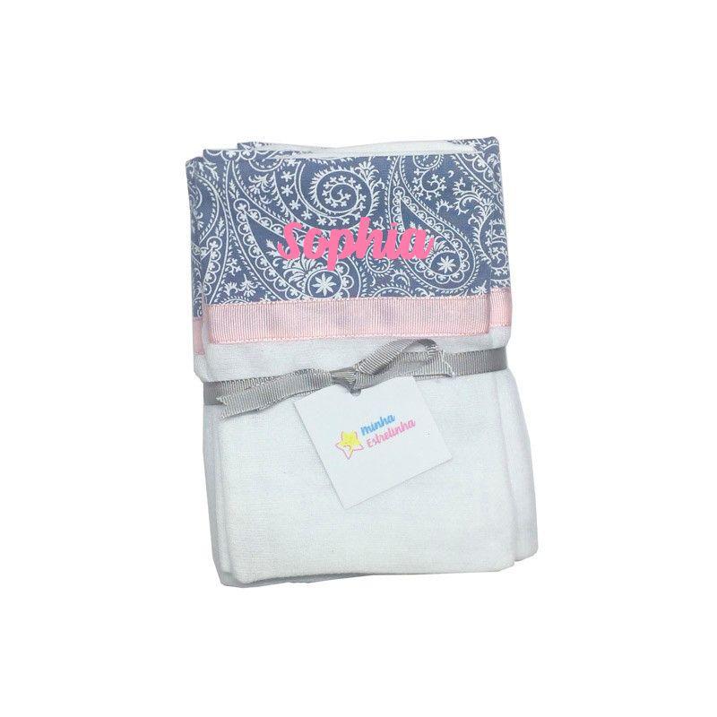 kit Fralda 3 pçs Personalizada Paisley - Minha Estrelinha