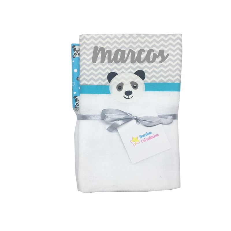 kit Fralda 3 pçs Personalizada Panda - Minha Estrelinha